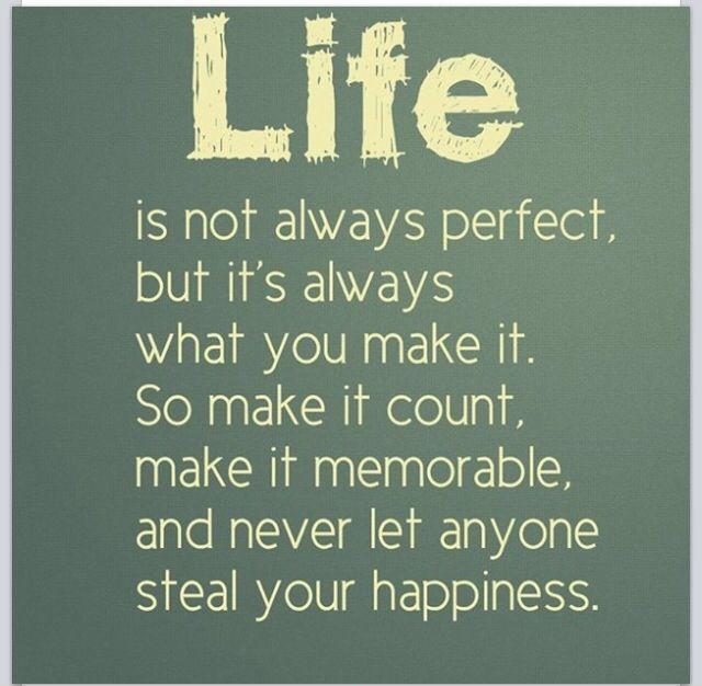 Life is not always perfect, but it's always what you make it. So make it count, make it memorable and never let anyone steal your happiness Picture Quote #1