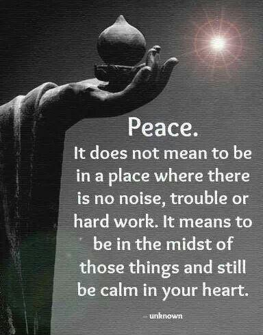 Peace. It does not mean to be in a place where there is no noise, trouble or hard work. It means to be in the midst of those things and still be calm in your heart Picture Quote #1