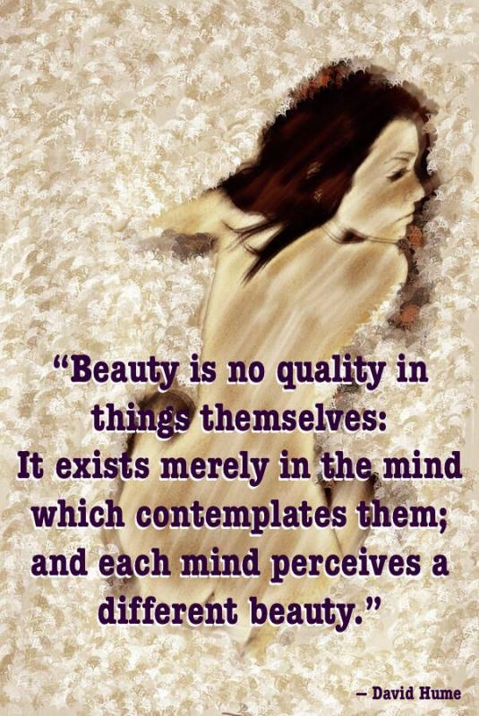 Beauty is no quality in things themselves. It exists merely in the mind which contemplates them, and each mind perceives a different beauty Picture Quote #1