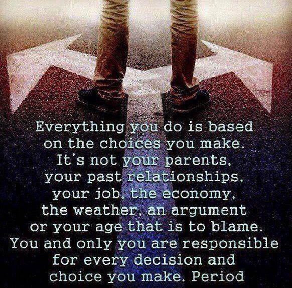 Everything you do is based on the choices you make. It's not your parents, your past relationships, your job, the economy, the weather, an argument or your age that is to blame. You and only you are responsible for every decision and choice you make, period Picture Quote #1