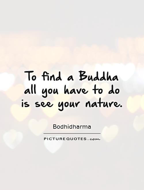 To find a Buddha all you have to do is see your nature Picture Quote #1