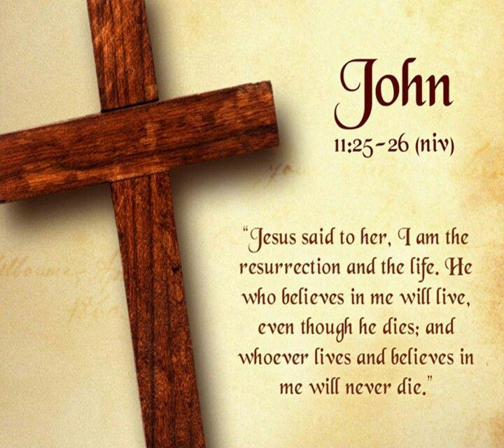 Jesus said to her, I am the resurrection and the life. He who believes in me will live even though he dies; and whoever lives and believes in me will never die Picture Quote #1