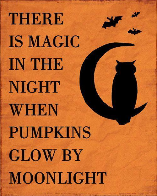 There is magic in the night when pumpkins glow by moonlight Picture Quote #1