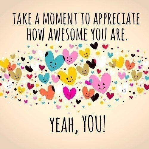 Take a moment to appreciate how awesome you are. Yeah, you! Picture Quote #1
