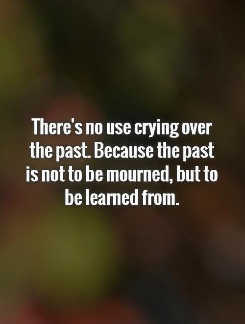 There's no use crying over the past. Because the past is not to be mourned, but to be learned from Picture Quote #1