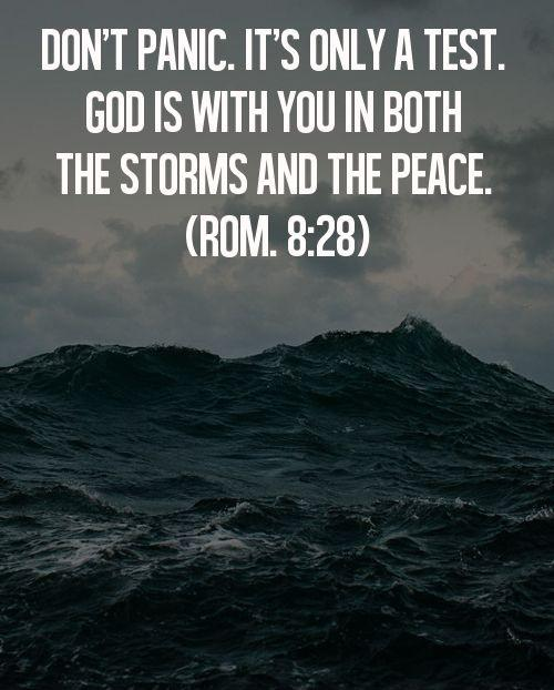 Don't panic. It's only a test. God is with you in both the storms and the peace Picture Quote #1