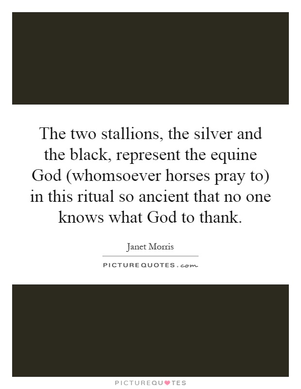 The two stallions, the silver and the black, represent the equine God (whomsoever horses pray to) in this ritual so ancient that no one knows what God to thank Picture Quote #1