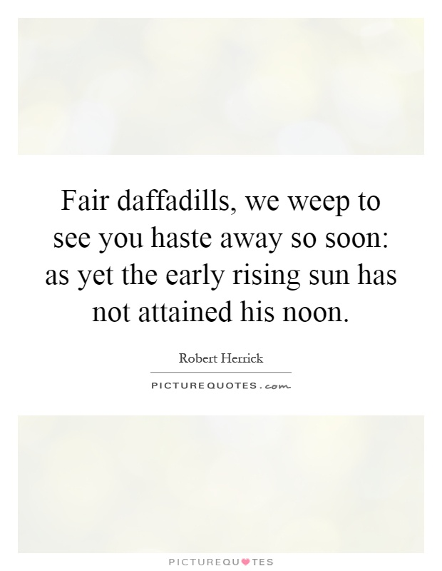 Fair daffadills, we weep to see you haste away so soon: as yet the early rising sun has not attained his noon Picture Quote #1
