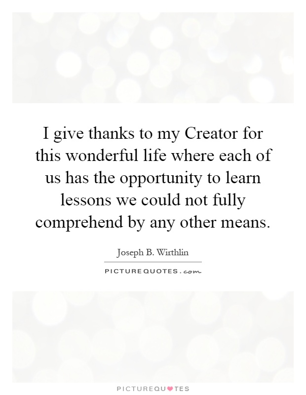 I give thanks to my Creator for this wonderful life where each of us has the opportunity to learn lessons we could not fully comprehend by any other means Picture Quote #1