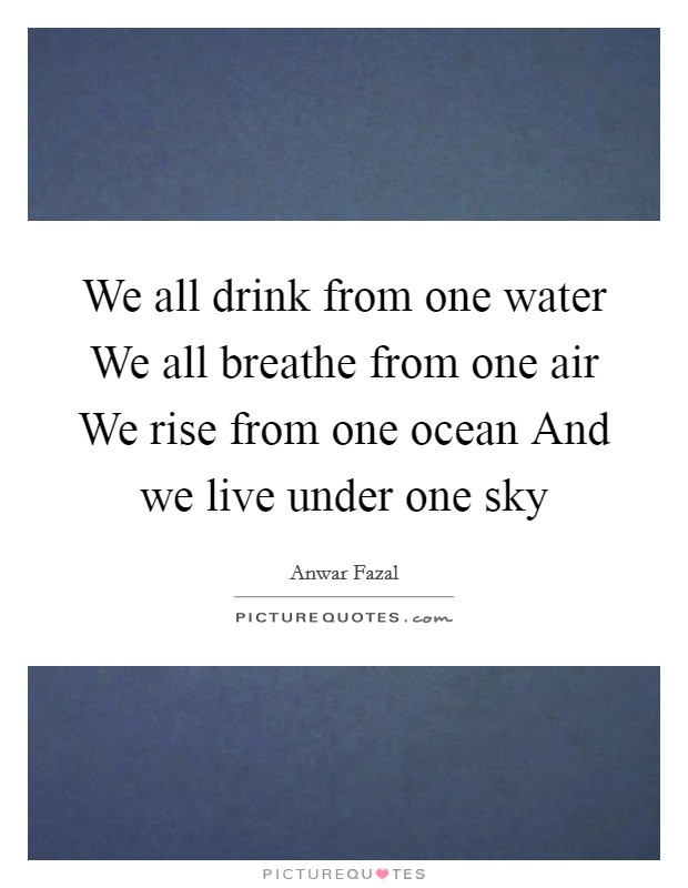 We all drink from one water We all breathe from one air We rise from one ocean And we live under one sky Picture Quote #1