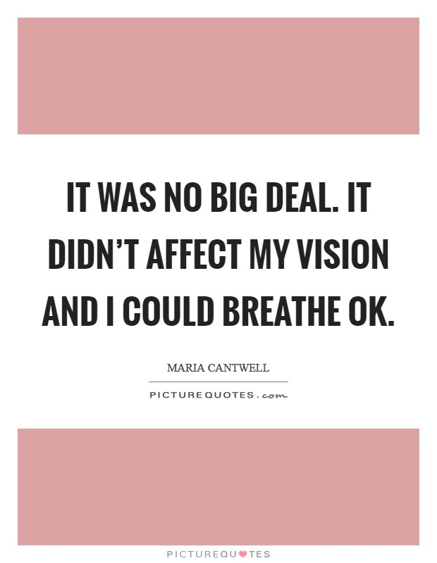 It was no big deal. It didn't affect my vision and I could breathe OK Picture Quote #1
