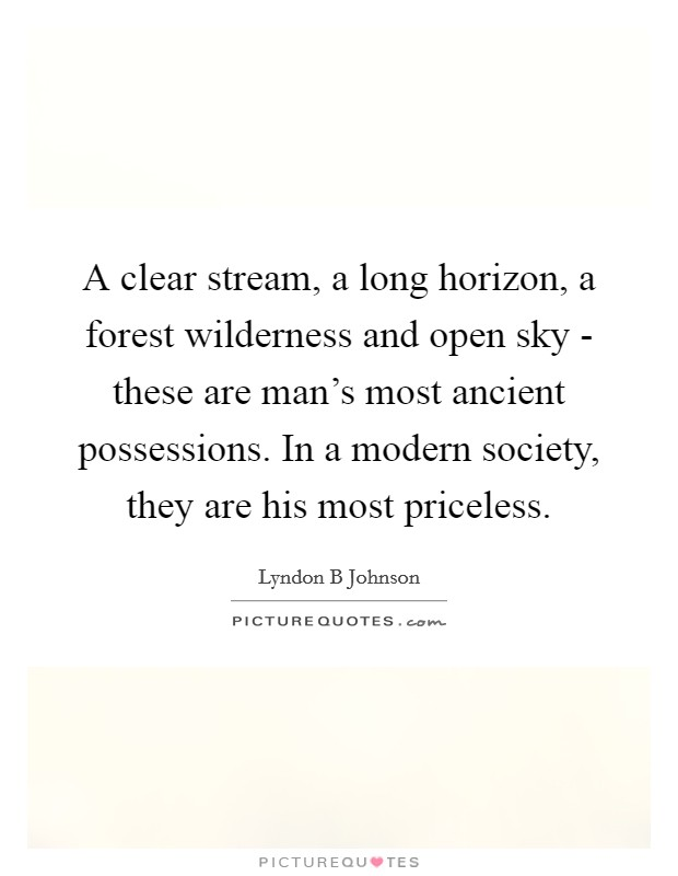 A clear stream, a long horizon, a forest wilderness and open sky - these are man's most ancient possessions. In a modern society, they are his most priceless Picture Quote #1