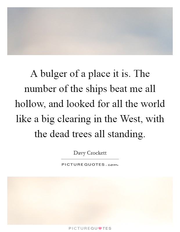 A bulger of a place it is. The number of the ships beat me all hollow, and looked for all the world like a big clearing in the West, with the dead trees all standing Picture Quote #1
