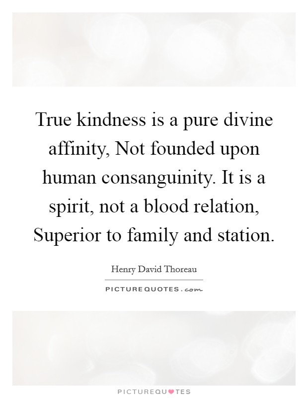 True kindness is a pure divine affinity, Not founded upon human consanguinity. It is a spirit, not a blood relation, Superior to family and station Picture Quote #1