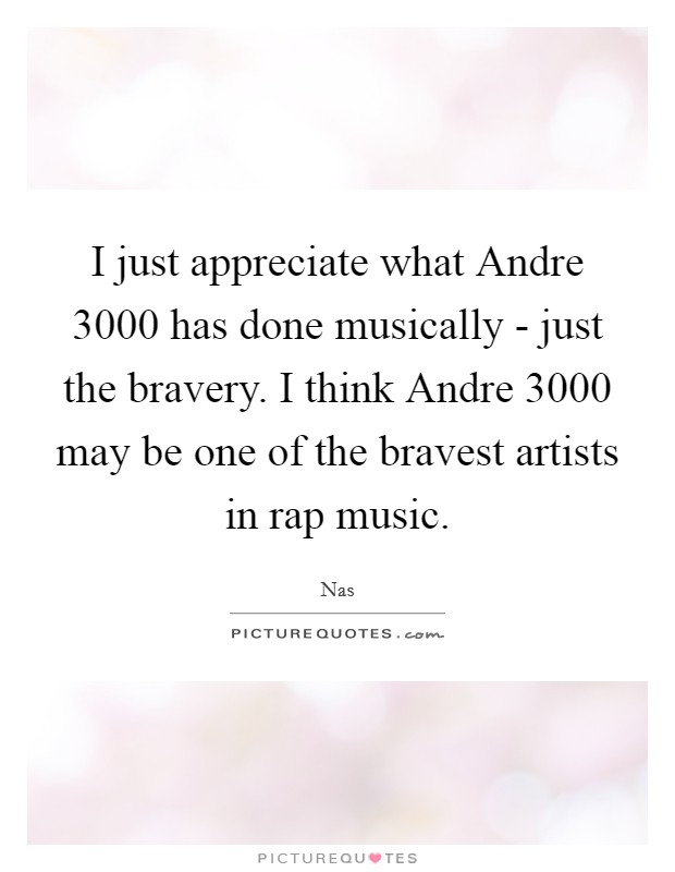 I just appreciate what Andre 3000 has done musically - just the bravery. I think Andre 3000 may be one of the bravest artists in rap music Picture Quote #1