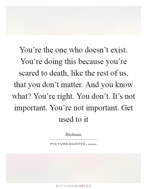 You're the one who doesn't exist. You're doing this because you're scared to death, like the rest of us, that you don't matter. And you know what? You're right. You don't. It's not important. You're not important. Get used to it Picture Quote #1