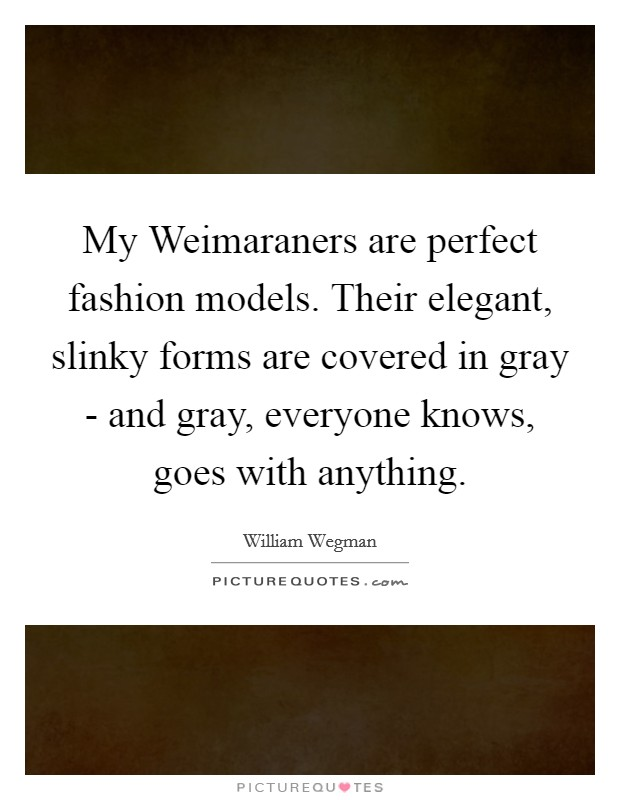 My Weimaraners are perfect fashion models. Their elegant, slinky forms are covered in gray - and gray, everyone knows, goes with anything Picture Quote #1