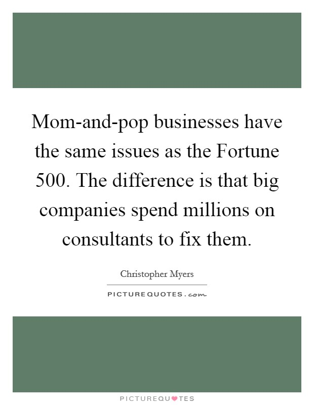 Mom-and-pop businesses have the same issues as the Fortune 500. The difference is that big companies spend millions on consultants to fix them Picture Quote #1