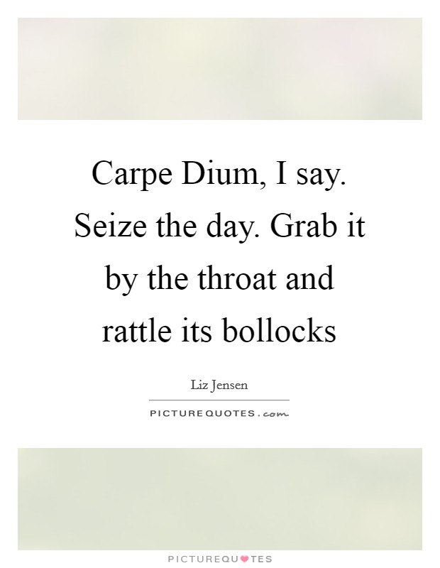 Carpe Dium, I say. Seize the day. Grab it by the throat and rattle its bollocks Picture Quote #1