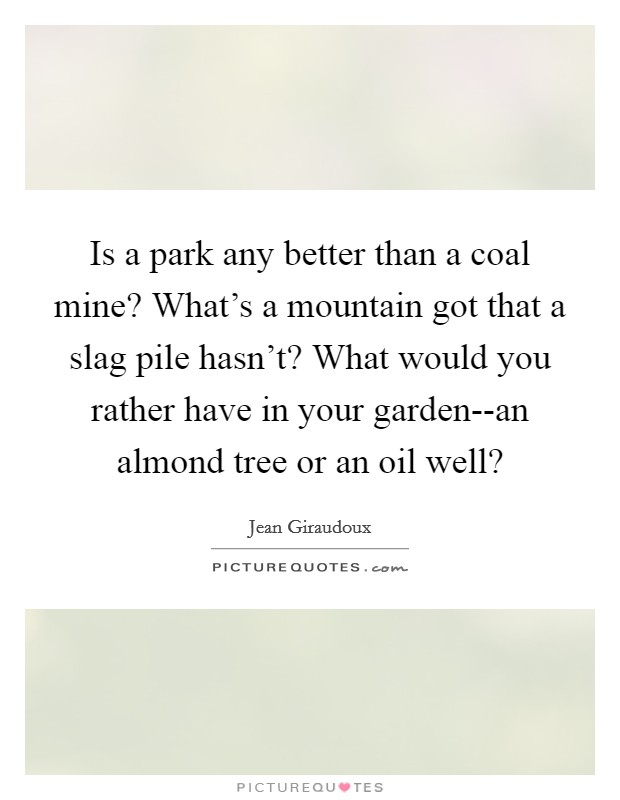 Is a park any better than a coal mine? What's a mountain got that a slag pile hasn't? What would you rather have in your garden--an almond tree or an oil well? Picture Quote #1