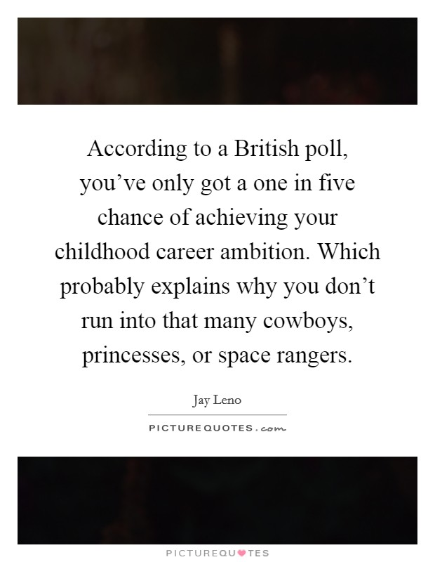 According to a British poll, you've only got a one in five chance of achieving your childhood career ambition. Which probably explains why you don't run into that many cowboys, princesses, or space rangers Picture Quote #1