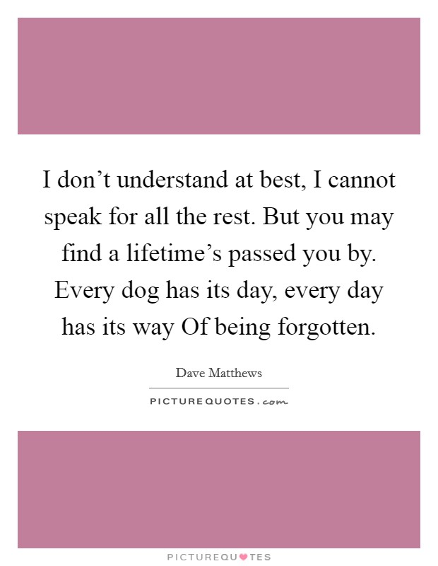 I don't understand at best, I cannot speak for all the rest. But you may find a lifetime's passed you by. Every dog has its day, every day has its way Of being forgotten Picture Quote #1