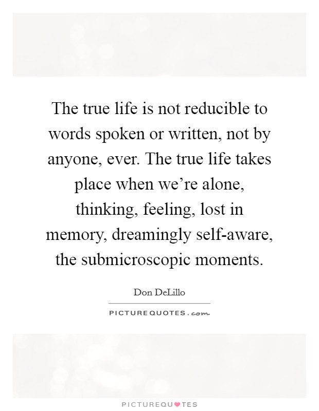 The true life is not reducible to words spoken or written, not by anyone, ever. The true life takes place when we're alone, thinking, feeling, lost in memory, dreamingly self-aware, the submicroscopic moments Picture Quote #1