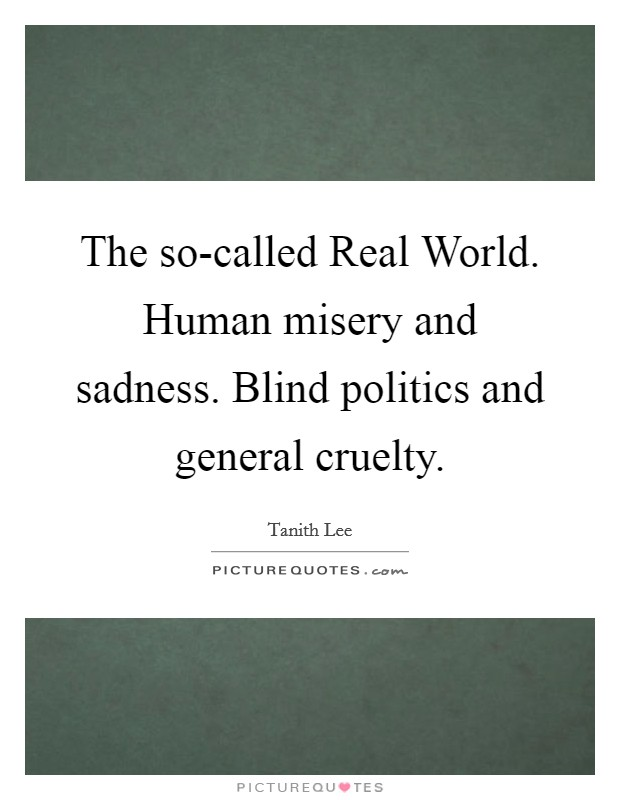 The so-called Real World. Human misery and sadness. Blind politics and general cruelty Picture Quote #1