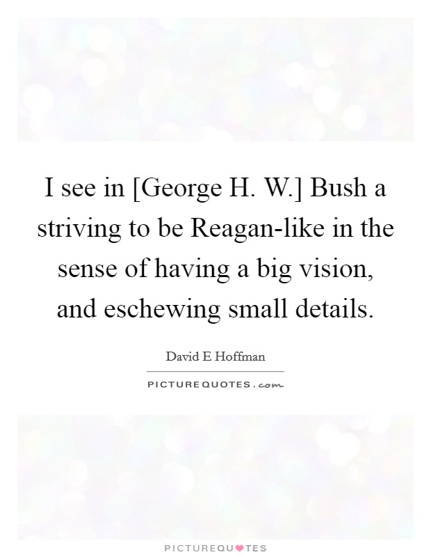 I see in [George H. W.] Bush a striving to be Reagan-like in the sense of having a big vision, and eschewing small details Picture Quote #1