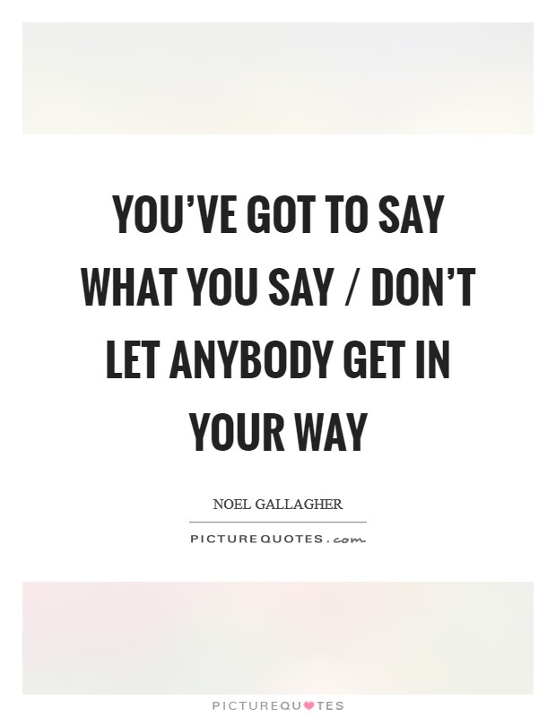 You've got to say what you say / Don't let anybody get in your way Picture Quote #1