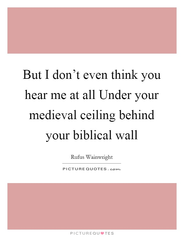 But I don't even think you hear me at all Under your medieval ceiling behind your biblical wall Picture Quote #1