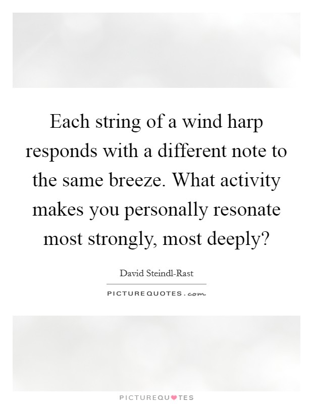 Each string of a wind harp responds with a different note to the same breeze. What activity makes you personally resonate most strongly, most deeply? Picture Quote #1
