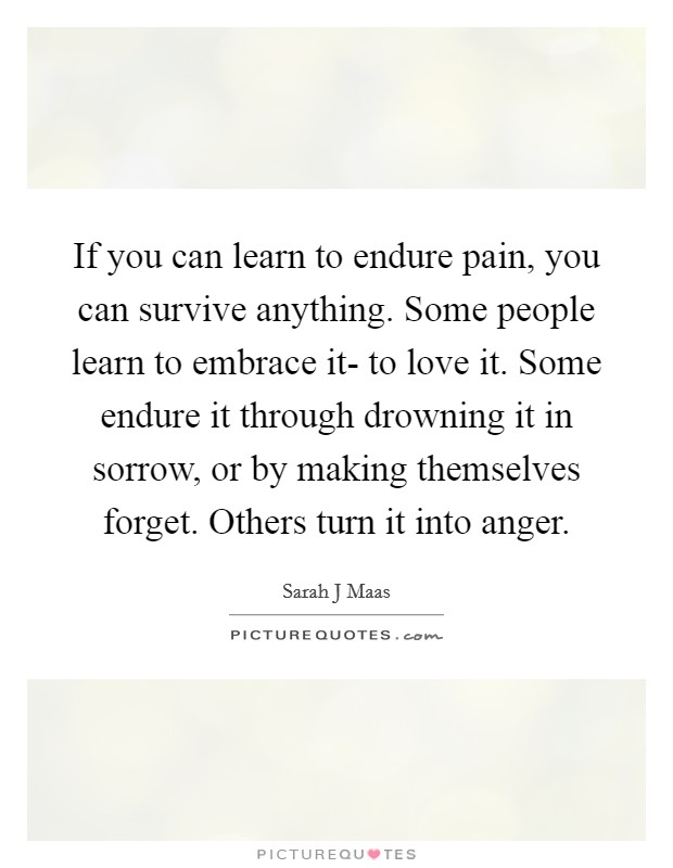 If you can learn to endure pain, you can survive anything. Some people learn to embrace it- to love it. Some endure it through drowning it in sorrow, or by making themselves forget. Others turn it into anger Picture Quote #1