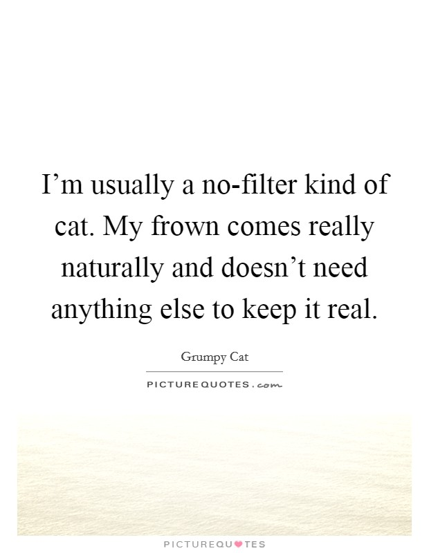 I'm usually a no-filter kind of cat. My frown comes really naturally and doesn't need anything else to keep it real Picture Quote #1