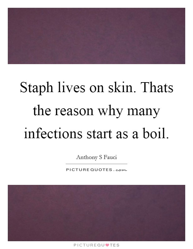 Staph lives on skin. Thats the reason why many infections start as a boil Picture Quote #1