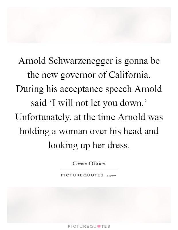 Arnold Schwarzenegger is gonna be the new governor of California. During his acceptance speech Arnold said 'I will not let you down.' Unfortunately, at the time Arnold was holding a woman over his head and looking up her dress Picture Quote #1