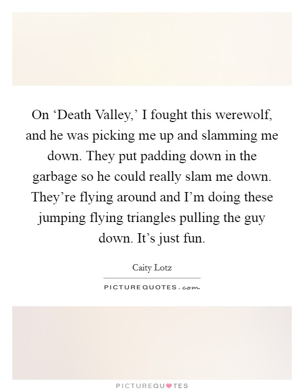 On 'Death Valley,' I fought this werewolf, and he was picking me up and slamming me down. They put padding down in the garbage so he could really slam me down. They're flying around and I'm doing these jumping flying triangles pulling the guy down. It's just fun Picture Quote #1