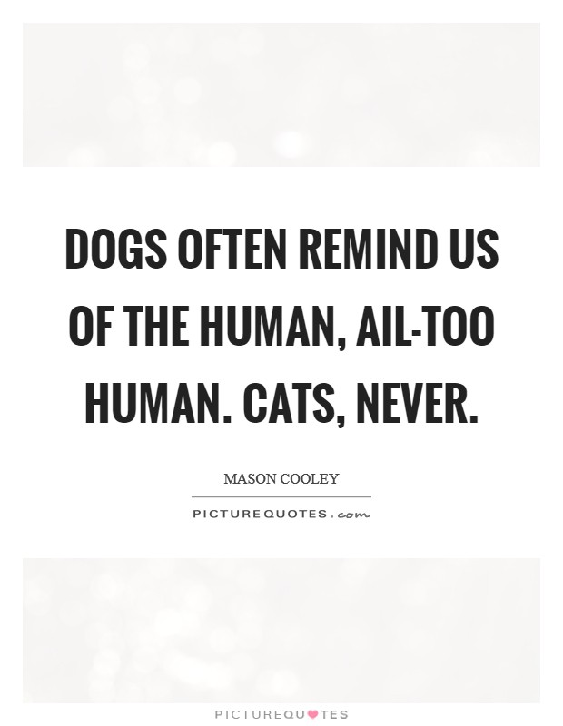 Dogs often remind us of the human, ail-too human. Cats, never Picture Quote #1