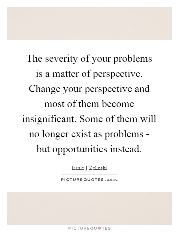 The severity of your problems is a matter of perspective. Change your perspective and most of them become insignificant. Some of them will no longer exist as problems - but opportunities instead Picture Quote #1