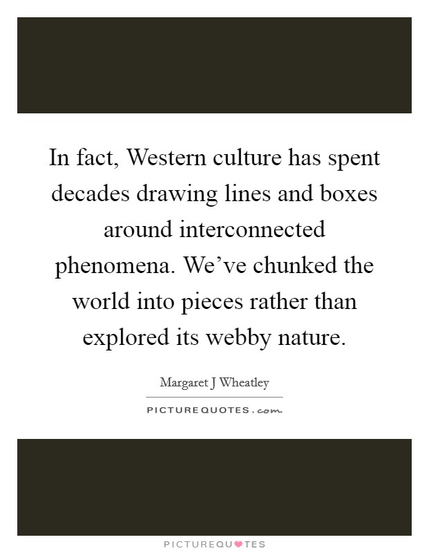 In fact, Western culture has spent decades drawing lines and boxes around interconnected phenomena. We've chunked the world into pieces rather than explored its webby nature Picture Quote #1