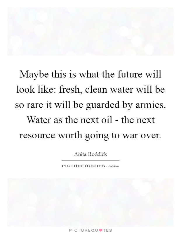 Maybe this is what the future will look like: fresh, clean water will be so rare it will be guarded by armies. Water as the next oil - the next resource worth going to war over Picture Quote #1