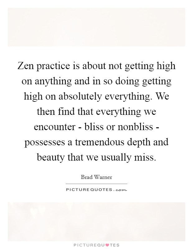 Zen practice is about not getting high on anything and in so doing getting high on absolutely everything. We then find that everything we encounter - bliss or nonbliss - possesses a tremendous depth and beauty that we usually miss Picture Quote #1