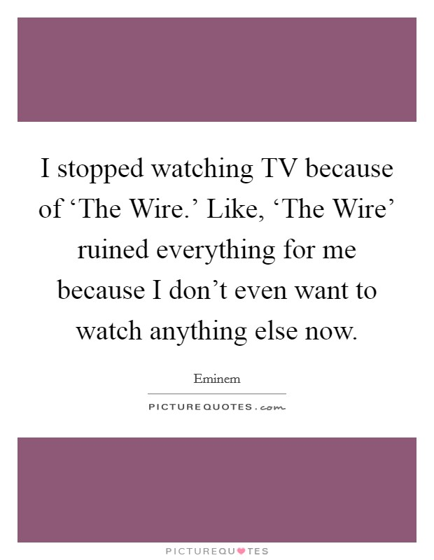 I stopped watching TV because of 'The Wire.' Like, 'The Wire' ruined everything for me because I don't even want to watch anything else now Picture Quote #1