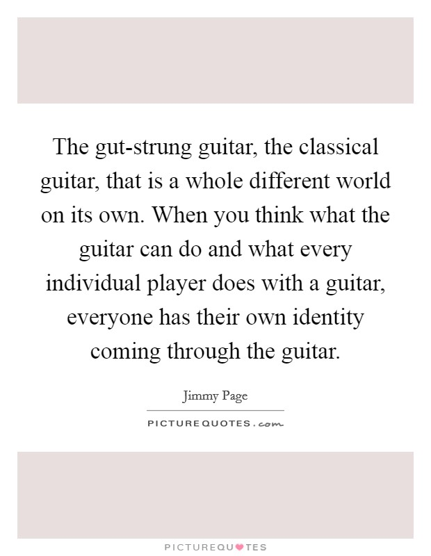 The gut-strung guitar, the classical guitar, that is a whole different world on its own. When you think what the guitar can do and what every individual player does with a guitar, everyone has their own identity coming through the guitar Picture Quote #1