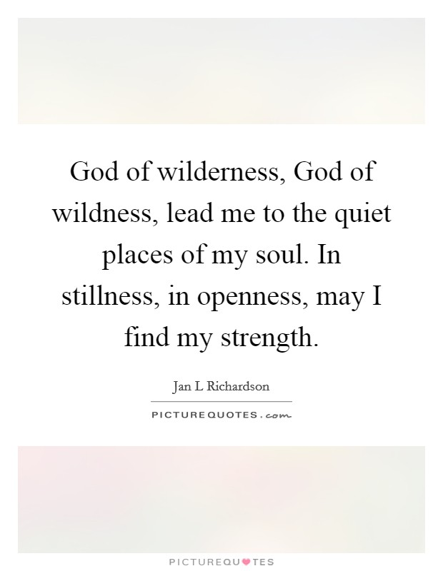 God of wilderness, God of wildness, lead me to the quiet places of my soul. In stillness, in openness, may I find my strength Picture Quote #1