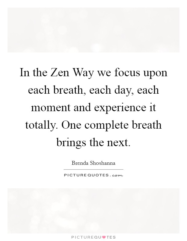 In the Zen Way we focus upon each breath, each day, each moment and experience it totally. One complete breath brings the next Picture Quote #1