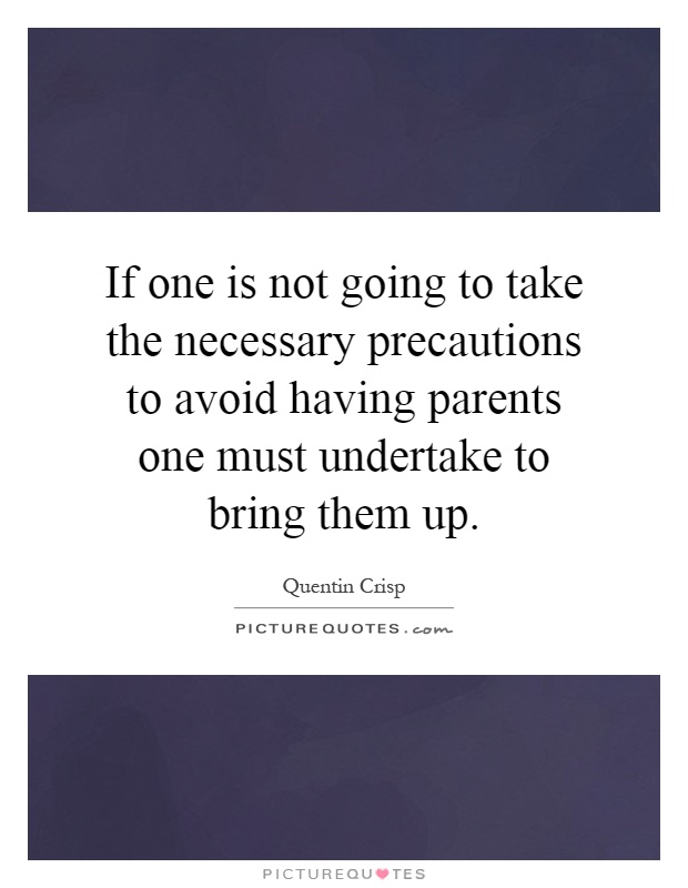If one is not going to take the necessary precautions to avoid having parents one must undertake to bring them up Picture Quote #1