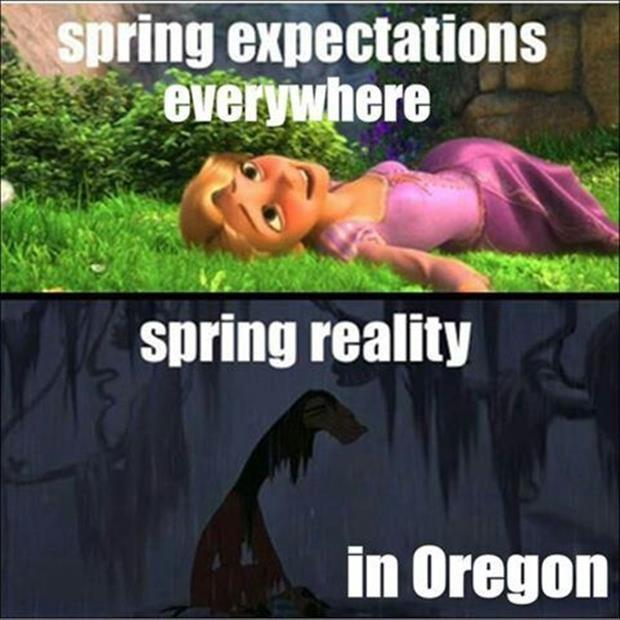 Spring expectations everywhere. Spring reality in Oregon Picture Quote #1