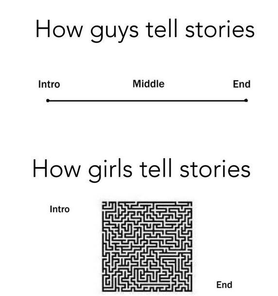 How guys tell stories. How girls tell stories Picture Quote #1