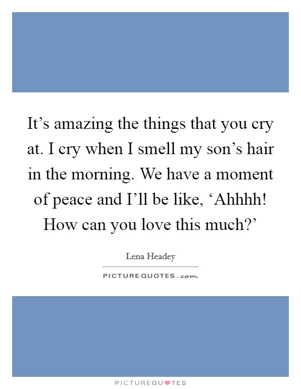 It's amazing the things that you cry at. I cry when I smell my son's hair in the morning. We have a moment of peace and I'll be like, 'Ahhhh! How can you love this much?' Picture Quote #1
